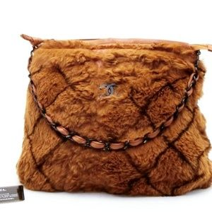 Quilted Rabbit Fur Chain Hobo 231077